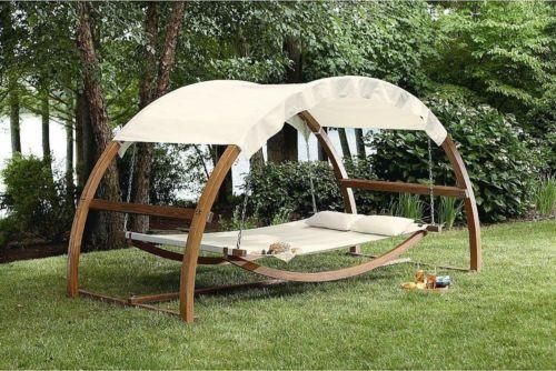 NewPorch Swing Bed Patio Furniture Hanging Canopy Wooden Hammock Add a touch of exclusivity to your porch with this stunning Leisure Season Porch Swing Bed. It