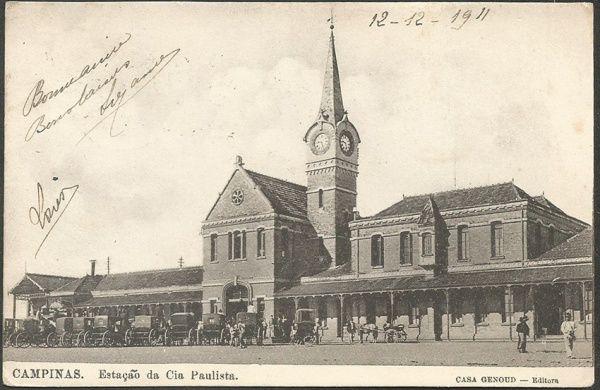 São Paulo - Campinas, Estação da Cia Paulista - Cartão Postal antigo original, editado pela Casa Genoud. 1911