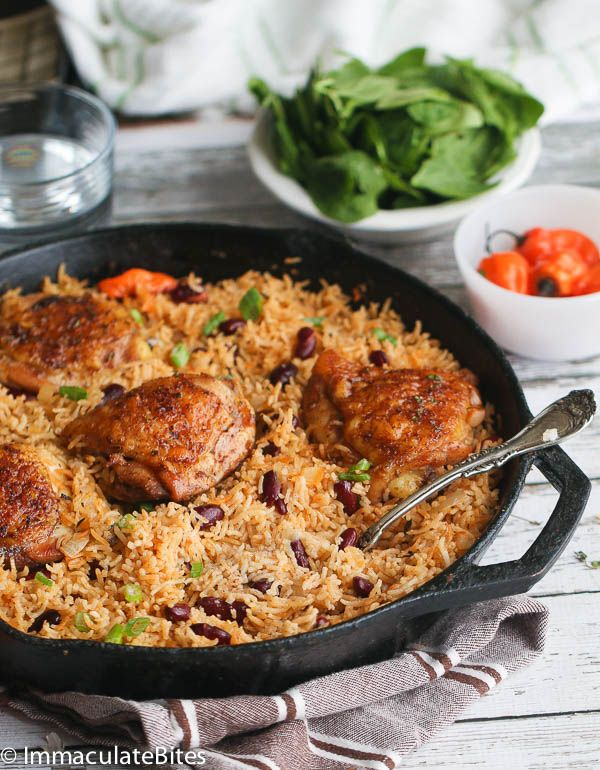 Thighs baked to Crispy perfection on a bed of fragrant rice and beans. A flavor explosion in a pot! What's not to love about less prep, less cleaning, and it's on the table in about an hour.