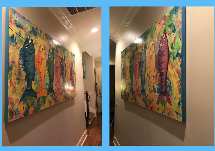 I hung my favorite painting.  The right side was sticking out from the wall, looking like the wood was warped.  I started googling how to fix it.  I kept reading about wetting the painting and to lay something heavy on top to straighten it out.  I decided to just let it be warped!  My friend came over, and suggested I use Velcro.  I put heavy duty Velcro on the back of the painting and a piece on the wall.  I am happy to report that this works, and now my painting hangs perfectly!