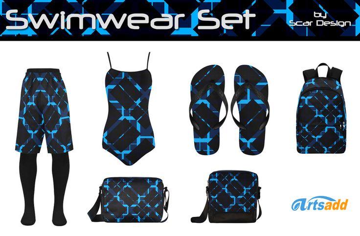 Swimwear Set for Men & Women by Scar Design   #swimwear #swimwearset #swimsuit #swim #trunk #swimtrunk #summer #summer2017 #flipflops #beach #beachbag #bags #summerbags #giftsforhim #giftsforher #artsadd #scardesign #backpack