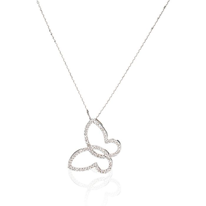 Diamanta White Gold Butterfly Pendant Necklace with Diamonds (0.22 ct) featured in vente-privee.com