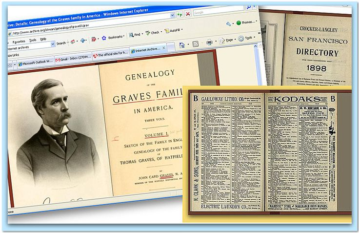 "A collage of family history material found on Internet Archive. Read more on the GenealogyBank blog: ""Top Genealogy Websites, Pt. 2: Google Books & Internet Archive."""