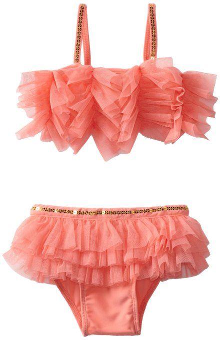 Mud Pie Baby-Girls Newborn Coral Ruffle Bikini, Multi, 12-18 Months: Clothing