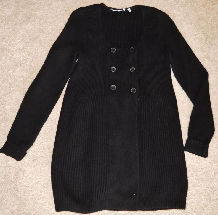 Vince Cashmere 2 ply Sweater Vest Jacket Coat Black Double Breasted #vince #Sweatercoat #all