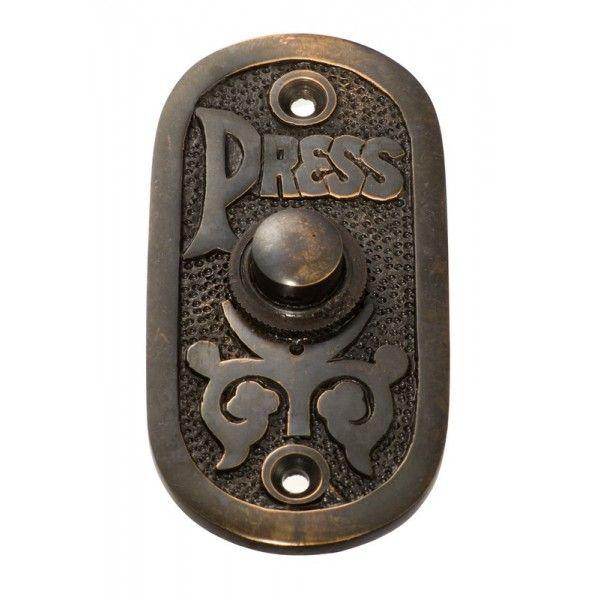"Antique Copper Bell Push ""Press"""
