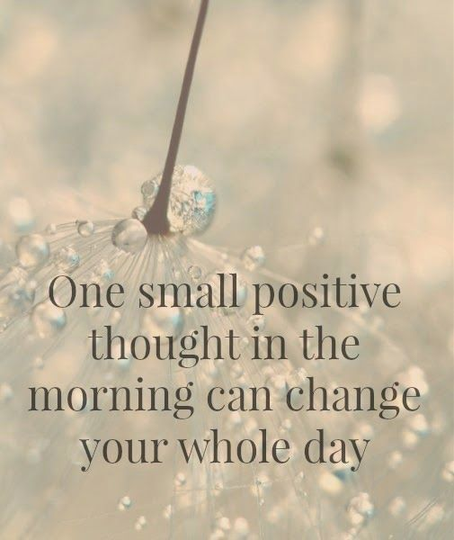 One small positive thought in the morning can change your whole day. #wisdom #affirmations