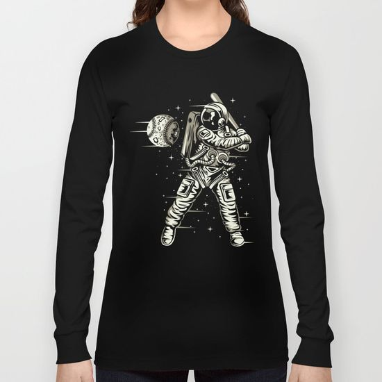 Space Baseball Astronaut Long Sleeve T-shirt