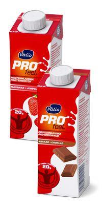 Valio ProFeel -juomat (maitokahvi, suklaa, vanilja, minttukaakao)