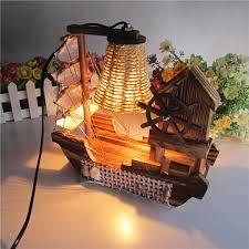 houten zeilen bureaulamp met herstellen oude manieren muziekdoos fles lampen(China )