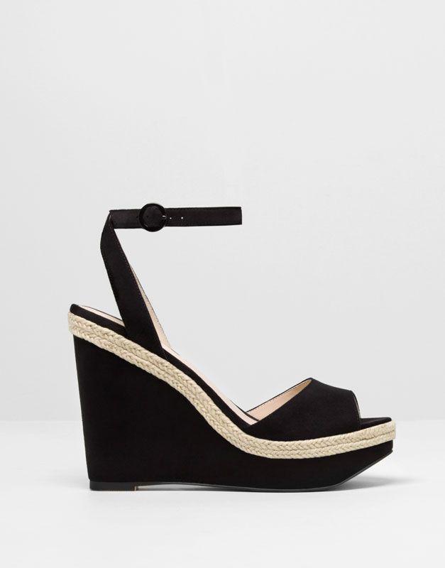 Pull&Bear - mujer - zapatos mujer - cuña pulsera - negro