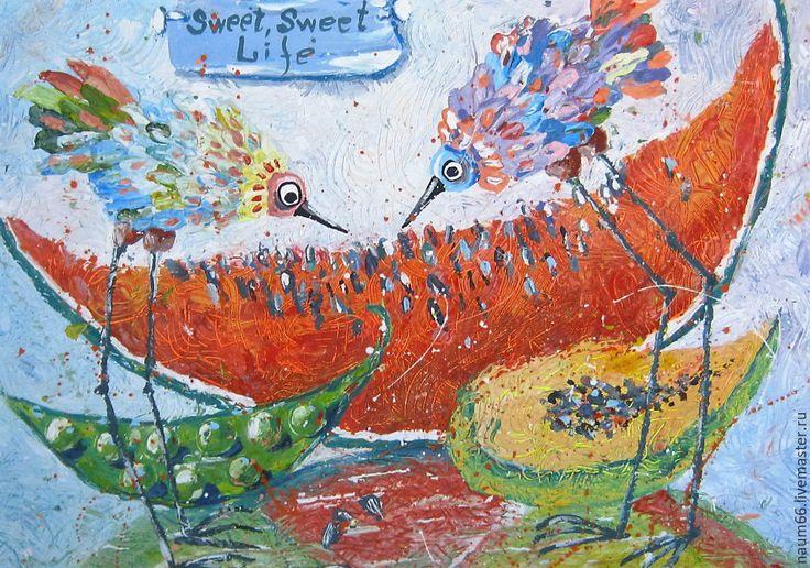 Купить Ну, Очень везучие птицы! Картина акрилом - картина в подарок, картина, картина для интерьера