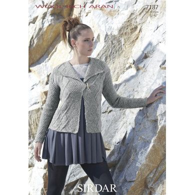 Woman's Cabled Jacket in Sirdar Wool Rich Aran - 7187. Discover more Patterns by Sirdar at LoveKnitting. We stock patterns, yarn, needles and books from all of your favorite brands.