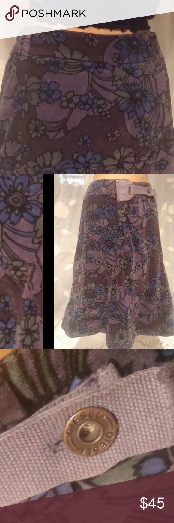 "Cute! Velvety, Floral Print ""Diesel"" Skirt. Unique Purple / Blue / Green  Length approximately 24""   In Great Condition Diesel Skirts Midi"