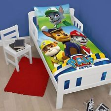 PAW PATROL RESCUE DUVET QUILT COVER BEDDING SET FOR JUNIOR TODDLER COT BED BOYS