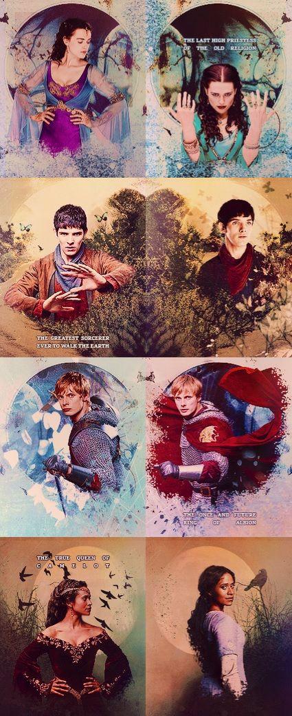 Morgana, Merlin, Arthur, and Gwen
