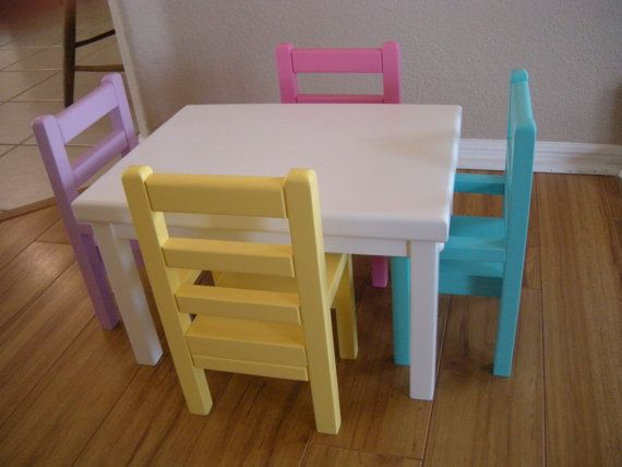 Kitchen Table and Chairs for American Girl Doll or 18-inch Dolls