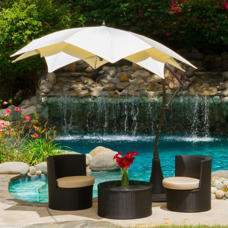 Modern Outdoor Patio Furniture Mocha Cantilever Umbrella Canopy w/ Stand #GreatDealFurniture