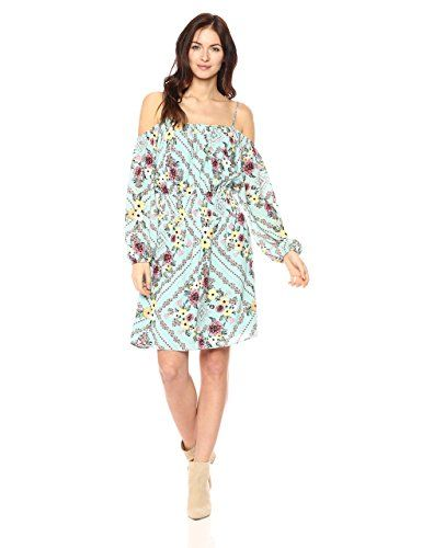 c65c734309cd Ella Moon Women s Philippa Cold Shoulder Long Sleeve Smocked Dress ...