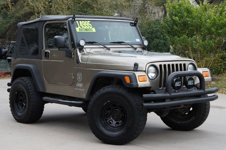 "2005 Light Khaki Jeep Wrangler  X - $14,995 - 2"" Rough Country Lift, 33"" BFGoodrich All Terrains, Double Tubed Bumpers, Rough Country Lights, Custom Sound System, New Smittybilt Soft Top, Details Here---> http://www.selectjeeps.com/inventory/view/9033834/2005-Jeep-Wrangler-2dr-X-League-City-TX"