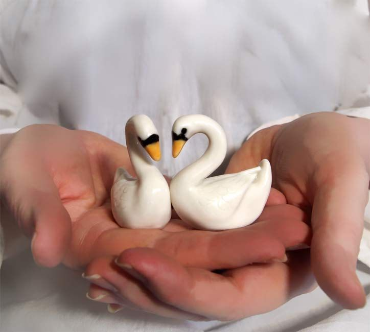 Hand sculpted swans wedding cake topper or gift