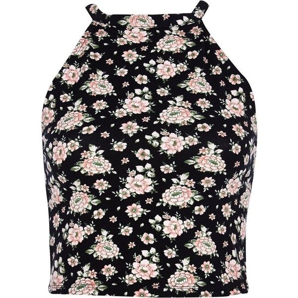 River Island Black ditsy floral racer front crop top (14 CAD) ❤ liked on Polyvore
