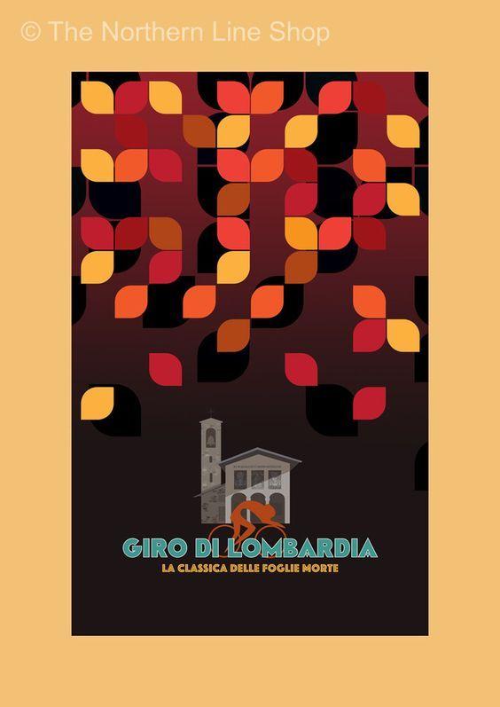 Giro di Lombardia [The Monuments - Original graphic poster art designed in The Northern Line studio in Ulverston, Cumbria] (thenorthernline.co.uk)
