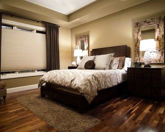 gorgeous way they pulled in all the brown tones in this bedroom with beautiful walnut hardwood - Wood Floor Design Ideas