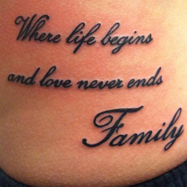 "Family tattoo <3 except saying ""Family - where love begins and never ends"""