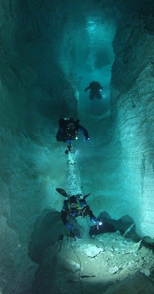 Scuba diving is one thing...scuba diving in a cave quite another!                                                                                                                                                      More