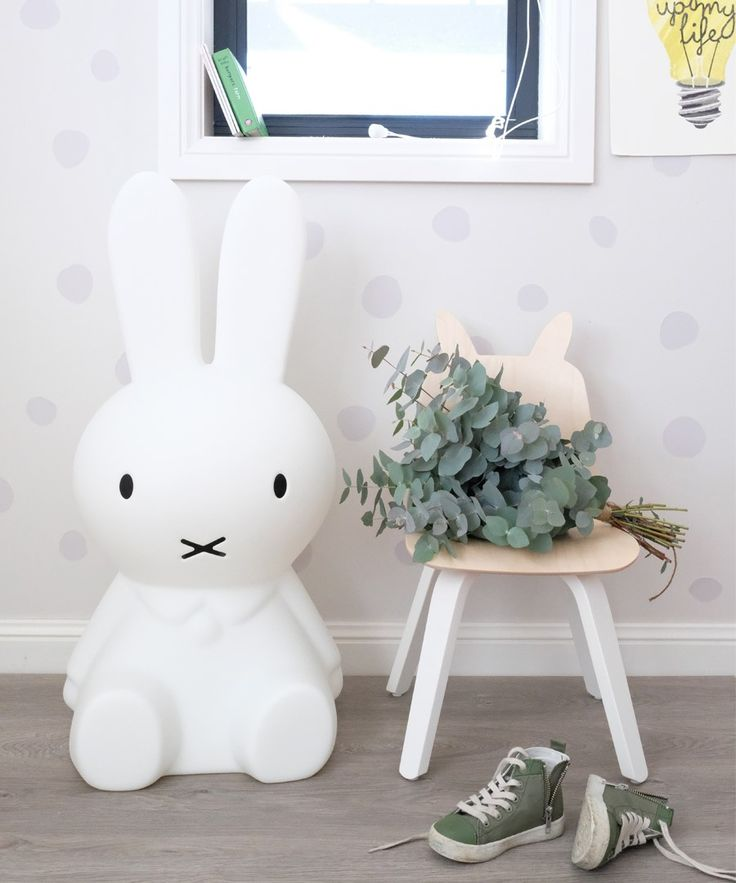 Miffy is the perfect statement night light for your child's room.  Miffy lights up the night and is pretty during the day.