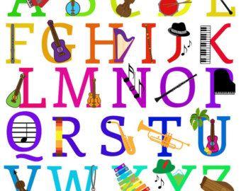 Music Alphabet Clipart Clip Art Musical Instruments by PinkPueblo