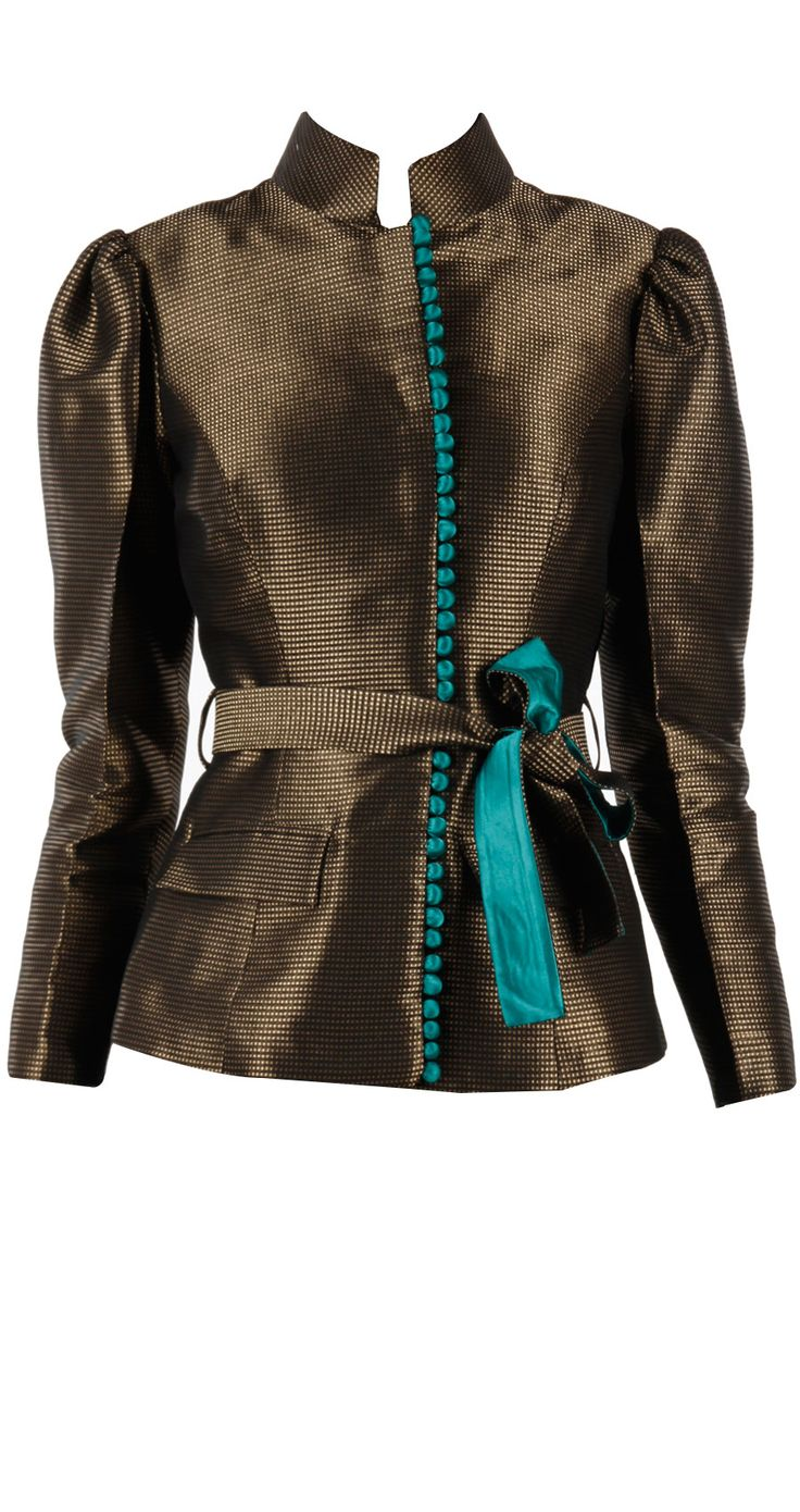 Black and gold brocade jacket with belt available only at Pernia's Pop-Up Shop.