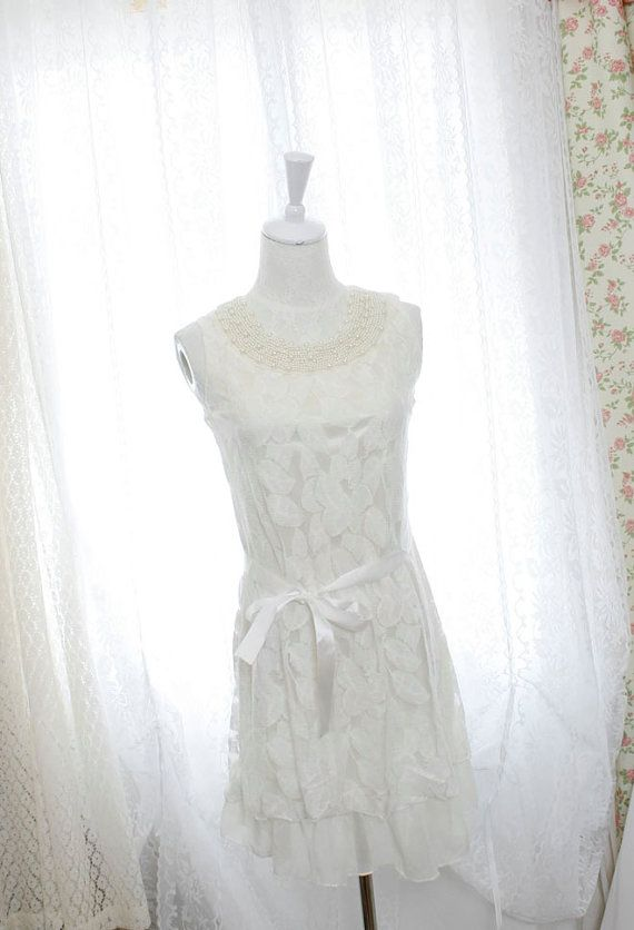 Pearl collar white lace dress dreamy romantic by miadressshop, $27.00