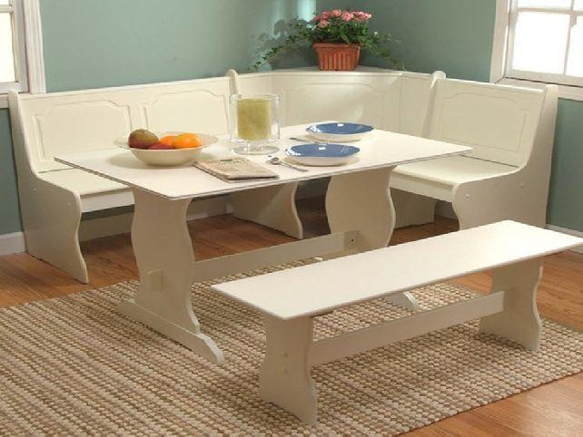 White Kitchen Dining Room Wood Corner Breakfast Nook Table