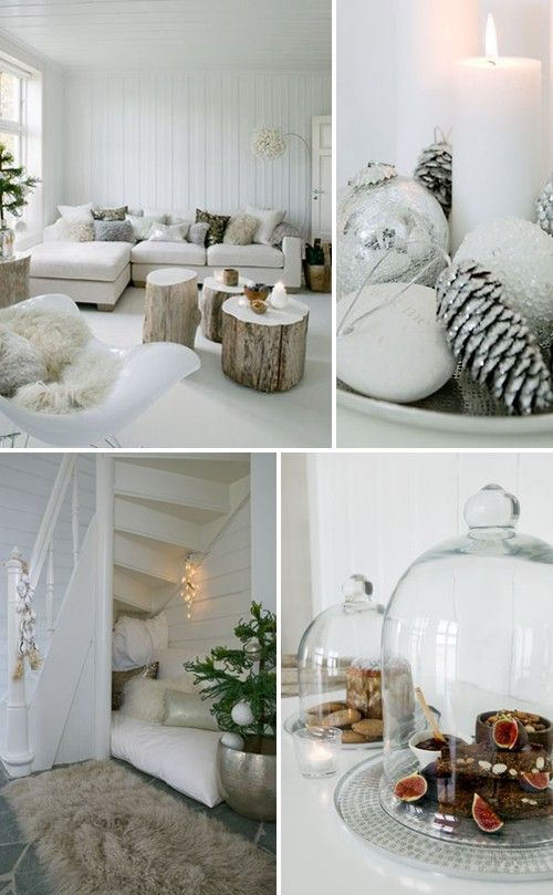 76 Inspiring Scandinavian Christmas Decorating Ideas -- White washed top of tables AND under stairway covey