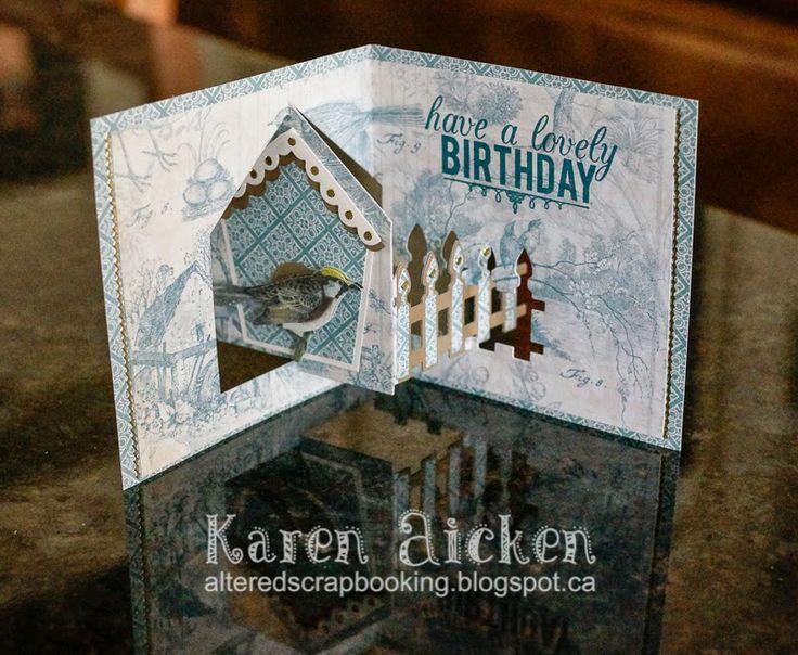 Karen Aicken using the Pop it Ups House Pivot Card die by Karen Burniston for Elizabeth Craft Designs - Altered Scrapbooking: Another Bird House Pivot Card