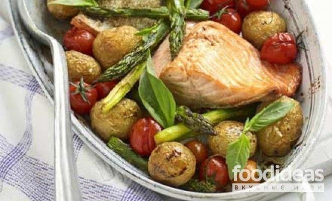 Жареный лосось со спаржей - рецепт приготовления с фото | FOODideas.info