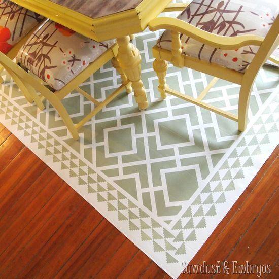 PAINT a remnant of linoleum to look like an area rug for under your dining table! SUPER easy to clean if you have small children... and durable too! {Sawdust and Embryos}