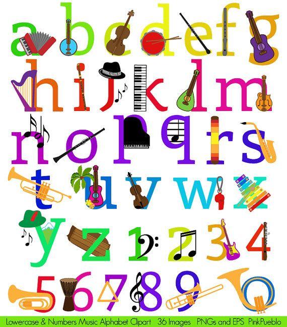 Música abecedario Clipart Clip Art instrumentos por PinkPueblo