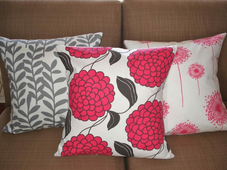 THREE New 18x18 inch Designer Handmade Pillow Cases in fabric PINK and GREY.. $60.00, via Etsy.