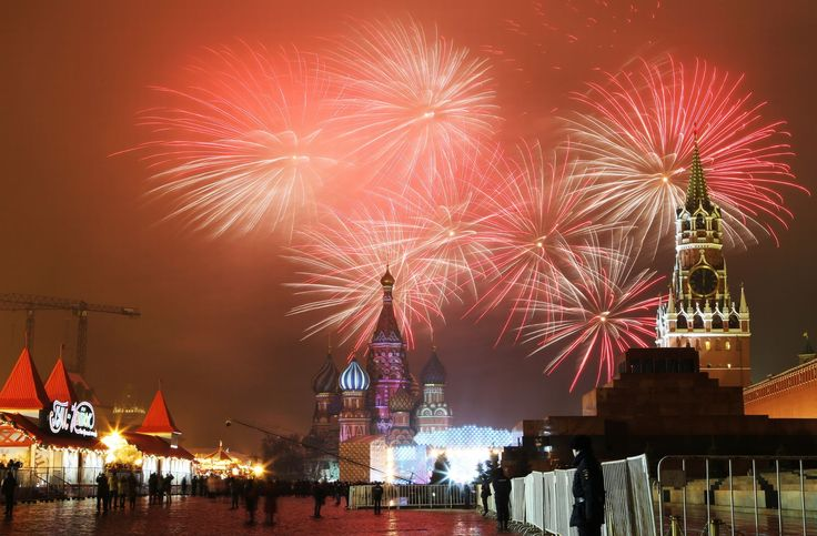MOSCOW, RUSSIA - JANUARY 1, 2017: Fireworks go off over Moscow's Red Square marking the arrival of the New Year.