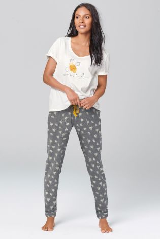 Buy White Bee Print Jersey Pyjamas from the Next UK online shop