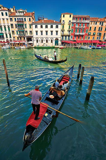 Gondolas on the Grand Canal near Rialto , Venice, Italy