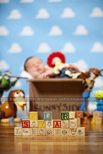 Another view of the Toy Story theme with the name in blocks. This set is available exclusively in our studio. Pregnancy and newborn photographer in North Florida. www.ChristyWhiteheadPhotography.com