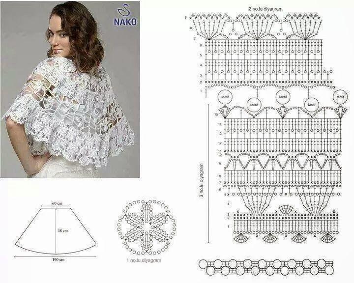 Mejores 20 imágenes de ponchos a crochet con patrones en Pinterest ...