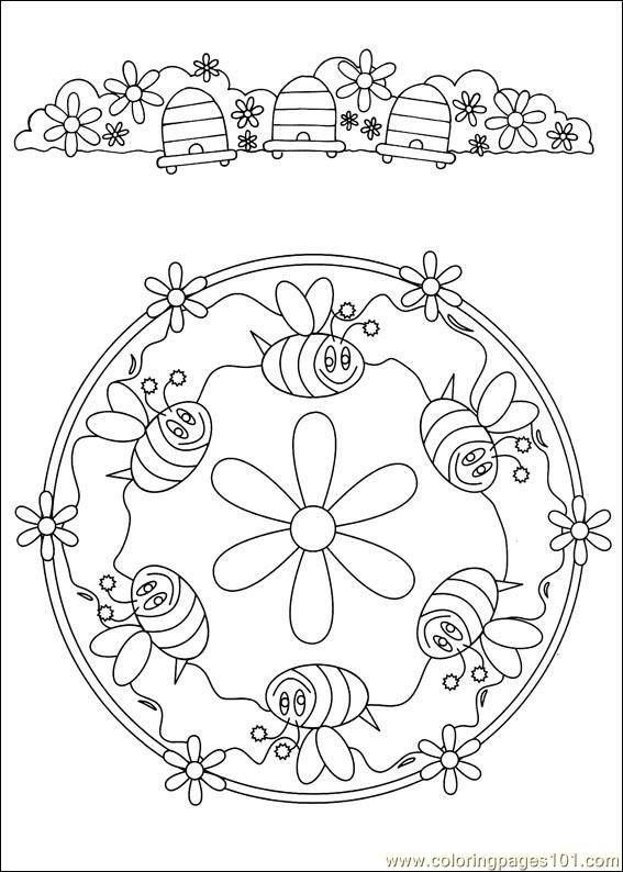 very cute bee mandala and border