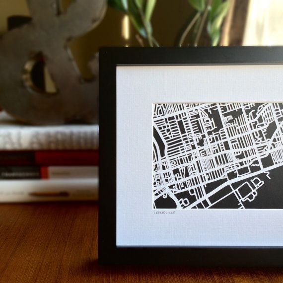 Hand cut paper cut map of  Leslieville in Toronto, ON  | 5x7 by CUTdesignsrt on Etsy