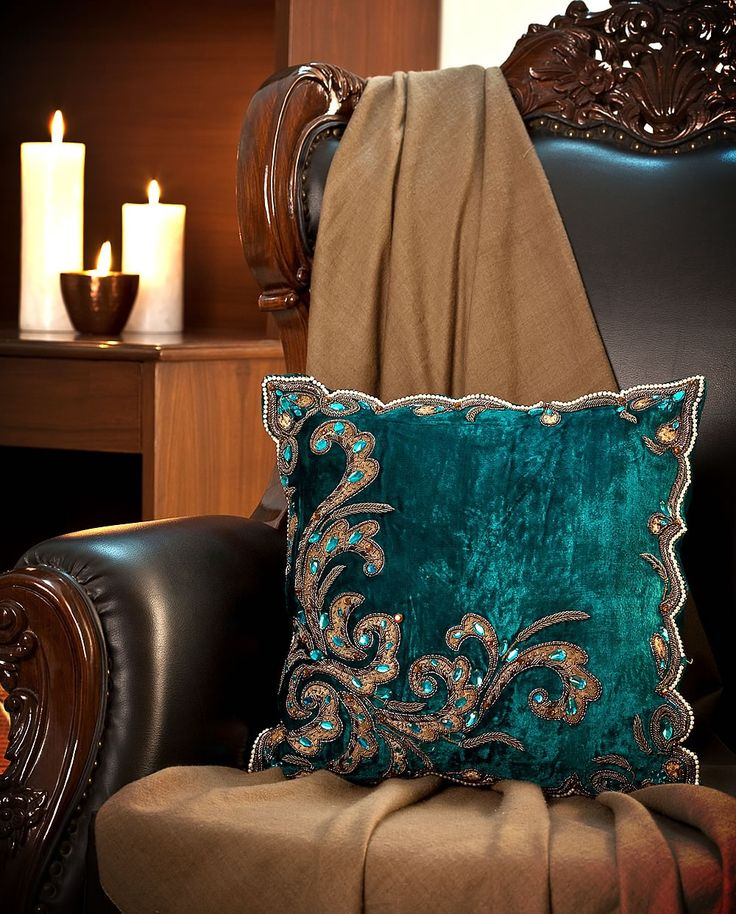 Turquoise Aqua Blue Velvet Decorative Cushion With Embroidery