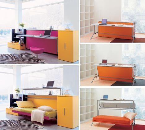 Convertible Furniture: Cool Couch, Desk And Bed Design. #minimalist #design